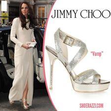 Jimmy CHOO 40 UK 7 Vamp argento tacchi come visto su