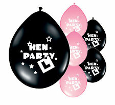 "10 x ""HEN PARTY"" BLACK & LIGHT PINK MIX BALLOONS (PA)"
