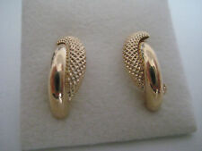 Gold earrings half banana shiny meshed stud 9 carat yellow gold