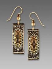 Adajio Earrings Gold & Ivory Tone 'Persian Rug' Column Drop Handmade in USA