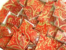 Broken China Mosaic Tiles - OPULENCE Red & Gold Lace mosaic tiles