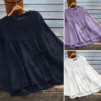 ZANZEA Women Long Sleeve High Low Tops T-Shirt Button Lace Up Shirt Blouse Plus