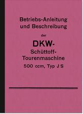 DKW Schüttoff 500 ccm JS Bedienungsanleitung Betriebsanleitung Handbuch Manual