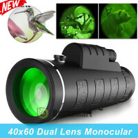 40X60 HD Day Night Vision Optical Monocular Compact Telescope Zoom Camping+Case