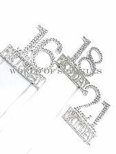 Silver 5.5cm Number Cake Pick Topper Diamond Rhinestone 10th Birthday Age Decor