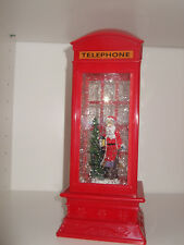 Light Up Christmas Snow Scene Telephone Box Water Spinner Santa inc Batteries