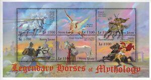 MODERN GEMS - Sierra Leone - Legendary Horses of Mythology - Sheet of 6 - MNH