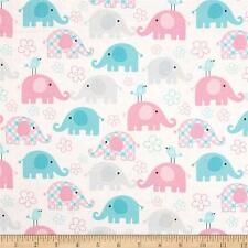 Child's Play: Elephant Pastel 100% cotton Fabric Remnant 35""