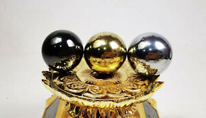 3 Pcs Gold Black Silver Ball MAGNETIC Leklai  Amulet Magic Lucky Gambling Stone