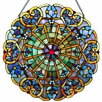 Victorian Style Stained Glass Panel: 23 Inch High Webbed Heart Decorative Window