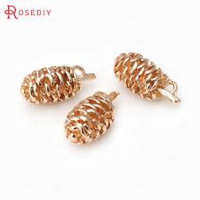 (30752)4PCS 10x19MM 24K Gold Color Brass Pinecone Charms Pendants Accessories