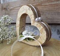 Ringkissen Ringhalter Jute Herz stehend für Eheringe Hochzeit Liebe aus Holz