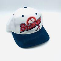 Vintage Atlanta Braves Logo 7 White Snapback Hat, Cap Mens