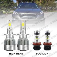 4Pcs Combo H7 Led Headlight High Beam H8 Fog Light for Hyundai Santa Fe 13-2016