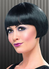 Womens 20's Flapper Bob Wig Short Black Fancy Dress Gangster Straight Vampire