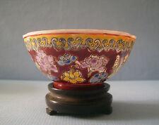 Vintage Fine Porcelain Eggshell Bowl Hand Carved Wood Stand mid 1900s ee