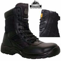 MENS POLICE LEATHER WATERPROOF MILITARY STEEL TOE CAP WORK SAFETY BOOTS SHOES SZ