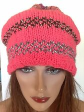 Hand Knit Beanie Hat Slouch Beret Designer Fashion Floral Winter Snow Ski Pink