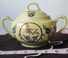 Quimper Faience Sugar Bow w/Lid/Soleil Yellow/Bird + Flower/Excellent Condition!