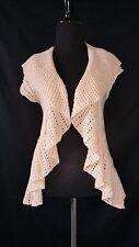 Rue 21 Women's Cardigan sweater open drape front S ruffle crochet knit SS