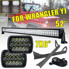 "For Jeep Wrangler YJ 52"" LED Light Bar W/ Upper Windshield Bracket +2x Headlight"