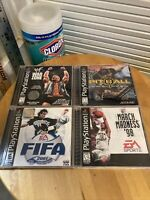 Lot Of 4 CIB Black Label PS1 Games Pitball WWF War Zone March Madness FIFA Sony