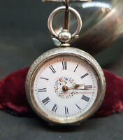ANTIQUE 935 SOLID SILVER LEVER FOB POCKET WATCH LADIES FLOWERS DIAL WITH KEY