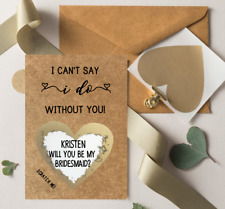 Brown Will You Be My Bridesmaid MOH Wedding Card Gold Heart Personalised Scratch