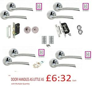 Door Handles on Rose Indiana Lever Style Duo Finished Chrome Door Pack Accessor