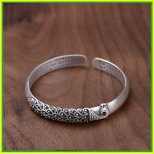 Bangles Women Solid925 Pure Silver Peacock Pattern Matte Heart Sutra Mother gift