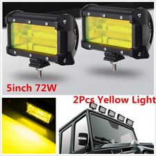 "5"" 72W LED Light Offroad Work Lamp Spot Flood Combo SUV Boat Truck Yellow Lamps"