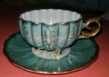 Royal Sealy Opalescent Blue Gold Trim 3 Toe Footed Porcelain Cup & Saucer Japan