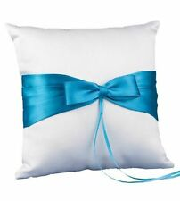 NEW Hortense B. Hewitt Aqua Turquoise Bow Ring Pillow