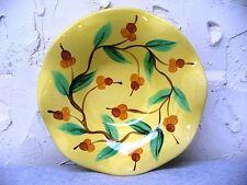 "2002 Gail Pittman Ruffled Yellow Acorn Branches Serving Decorative Bowl 10.5"""