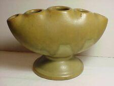 Roseville Carnelian II Green with Soft Brown Drip Glaze Flower Frog Vase  Nice