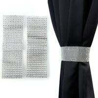 Diamante 12 Row Tie Backs Pair Silver / Grey Bling Sparkle Holdbacks Curtains