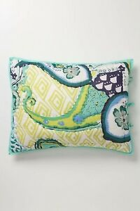 """Anthropologie Day Dreamer Quilted Cotton Green Standard Shams Size 20"""" x 26"""""""