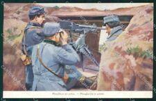 Militari Soldiers Mitrailleuse WWI Pubblicitaria Rigaud cartolina XF8299