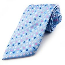 BHS 100% Pure Silk Blue Pink White Geometric Mens Tie