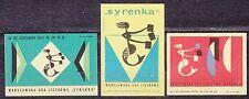 POLAND 1964 Matchbox Label - Cat.Z#573/75 set Warsaw number game SYRENKA.