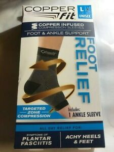 COPPER FIT COMPRESSION FOOT N ANKLE SUPPORT PLANTAR FASCIITIS ACHY HEELS N FEET