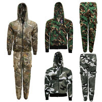 Kids Unisex Camouflage Tracksuit Forest Camo DPM Hoodie Jogger Set 2-14 Years