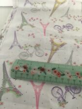 """Eiffel Tower Fabric 100% Cotton Quilting Bicycle Floral White Paris French 25"""""""