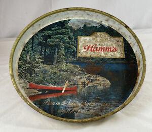 Vintage Hamm's Beer Serving Tray Canoe Lake Scene Red Bottom
