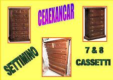 SETTIMINO CASSETTIERA NOCE SCURO TIPO ARTE POVERA 7, E 8 CASSETTI CLICCA E LEGGI