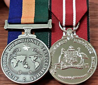 AUSTRALIAN OPERATIONAL SERVICE MEDAL GROUP REPLICA ANZAC MOUNTED TO WEAR GROUP