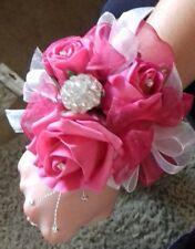 Wedding flowers bridesmaids wrist corsage hot pink roses,diamante