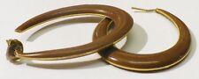 boucles d'oreilles percees anneaux ovale bijou vintage couleur or et marron 3638
