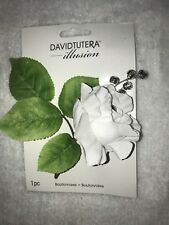 NEW David Tutera White Rhinestone Wedding Bridal Prom Boutonniere