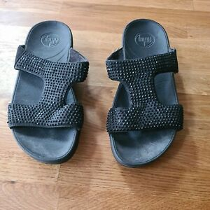 Black Suede Sparkly Fitflops Size 5